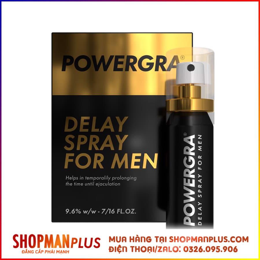 Thuốc xịt chống xuất tinh sớm powergra delay spray for men